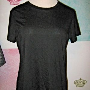 Black Semi Fitted Short Sleeve Stretch Top XXL 2X